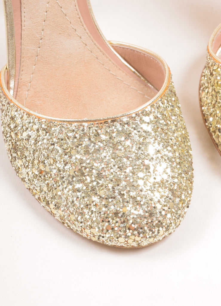 Marc Jacobs Metallic Gold Glitter Mary Jane Pumps Detail