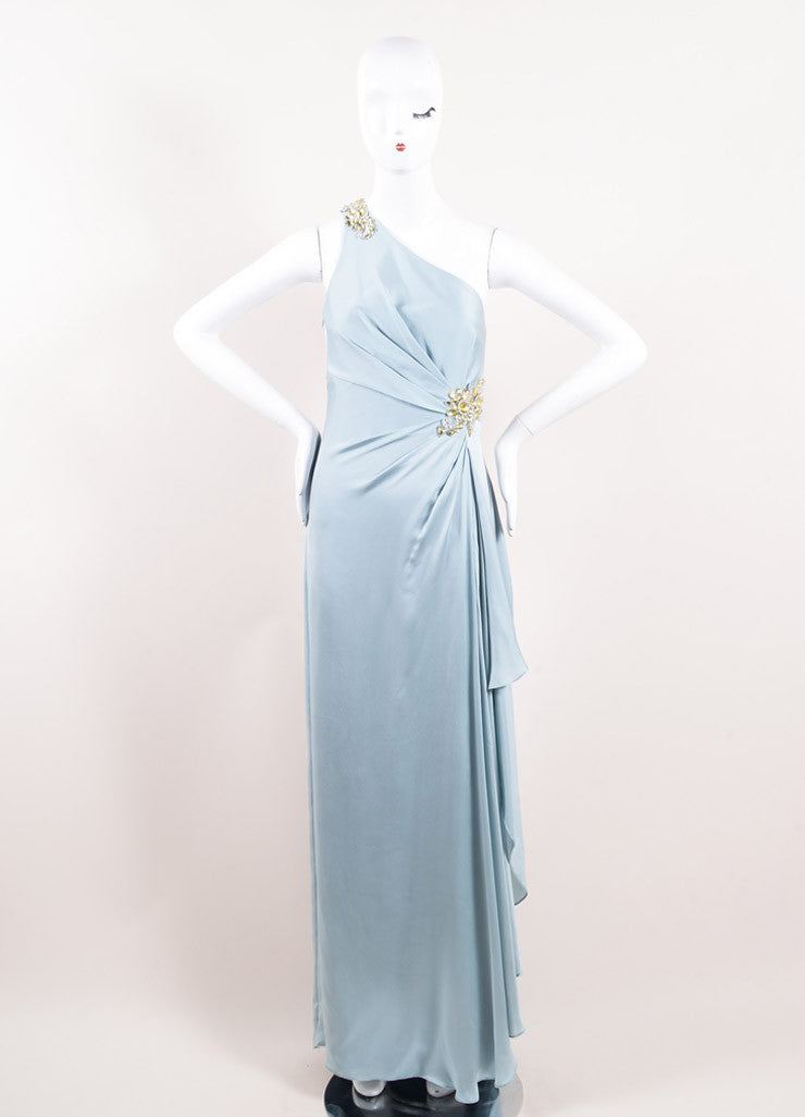 Marchesa Notte Blue Silk Embellished One Shoulder Cascade Floor Length Gown Frontview