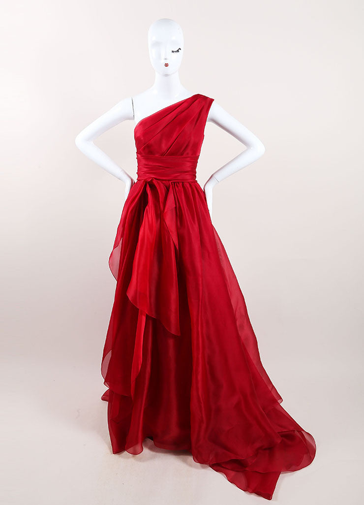 Marchesa Red Silk One Shoulder Draped Full Gown Frontview