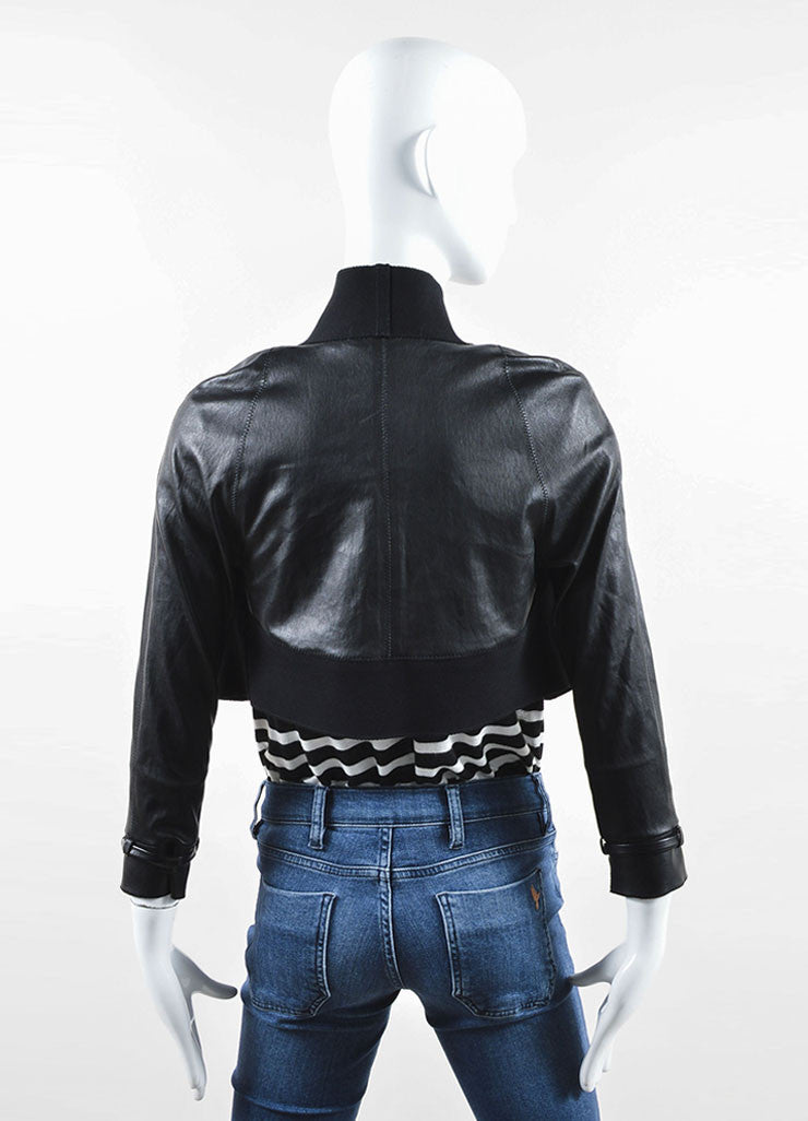 Marie Saint Pierre Black Leather and Stretch Knit Cropped Bolero Jacket Backview