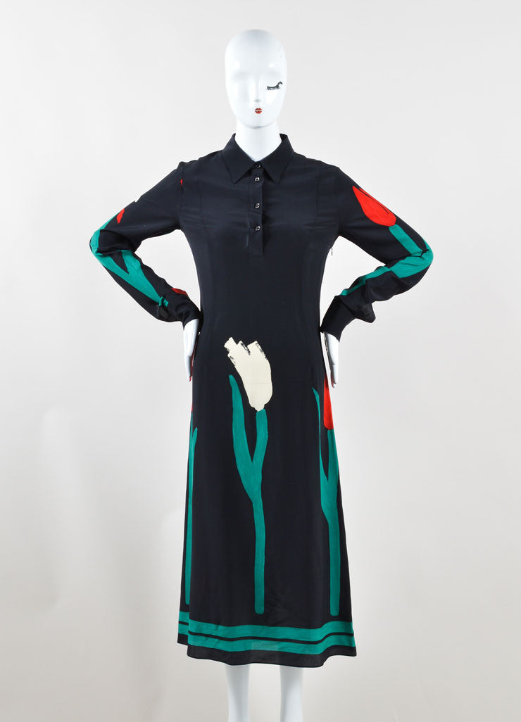 Marni Red, Black, and Green Silk Tulip Print Midi Shirt Dress Frontview