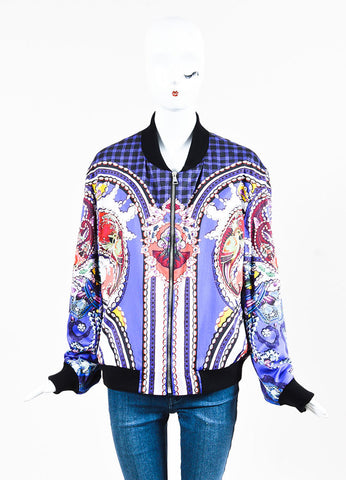 "Mary Katrantzou Purple Multi Mixed Print ""Skye"" Bomber Jacket Frontview 2"