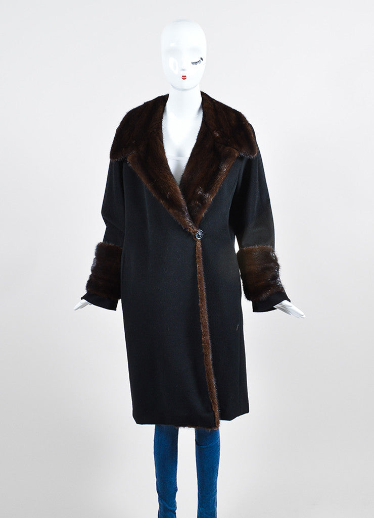 Black and Brown Max Mara Wool and Cashmere Mink Trim Long Coat Frontview 2