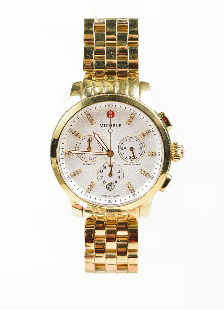 "18K Gold Plated Stainless Steel and Diamond Michele ""Sport Sail"" Chronograph Watch Frontview"