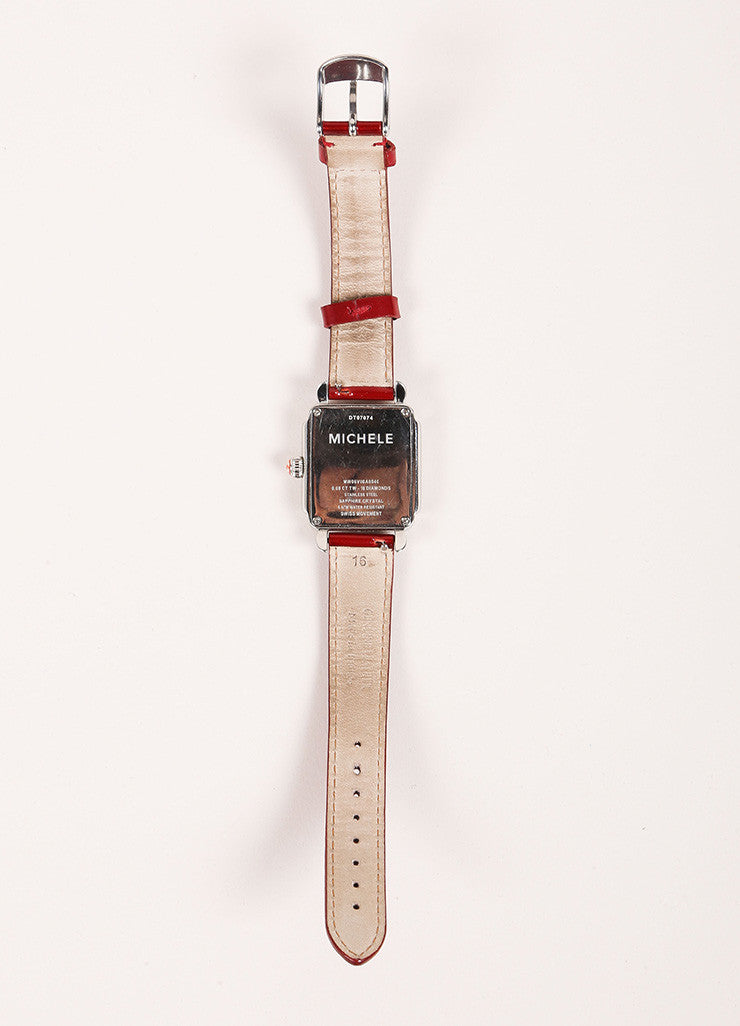 Michele Deco Silver Tone Red Cream Stainless Steel Diamond Interchangeable Watch Backview