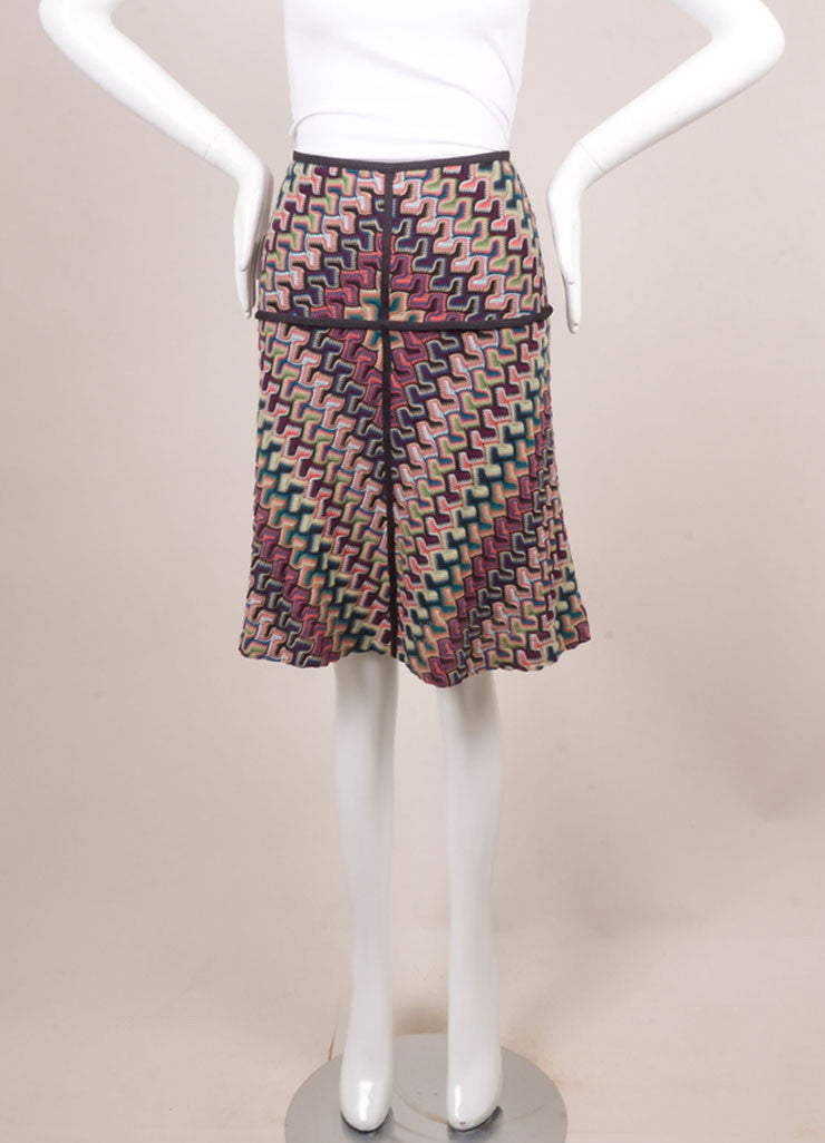 Missoni Grey, Pink, and Blue Knit Woven Print Skirt Frontview