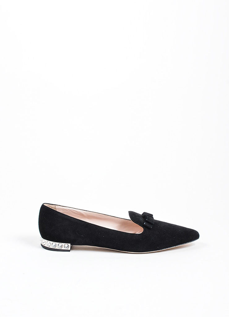 Black Miu Miu Suede Crystal Embellished Point Toe Flats Sideview