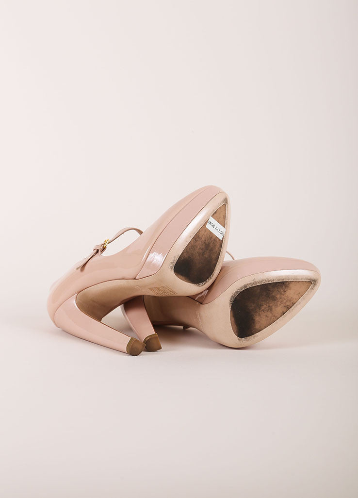 Miu Miu Nude Patent Leather Platform Mary Jane Heels Outsoles