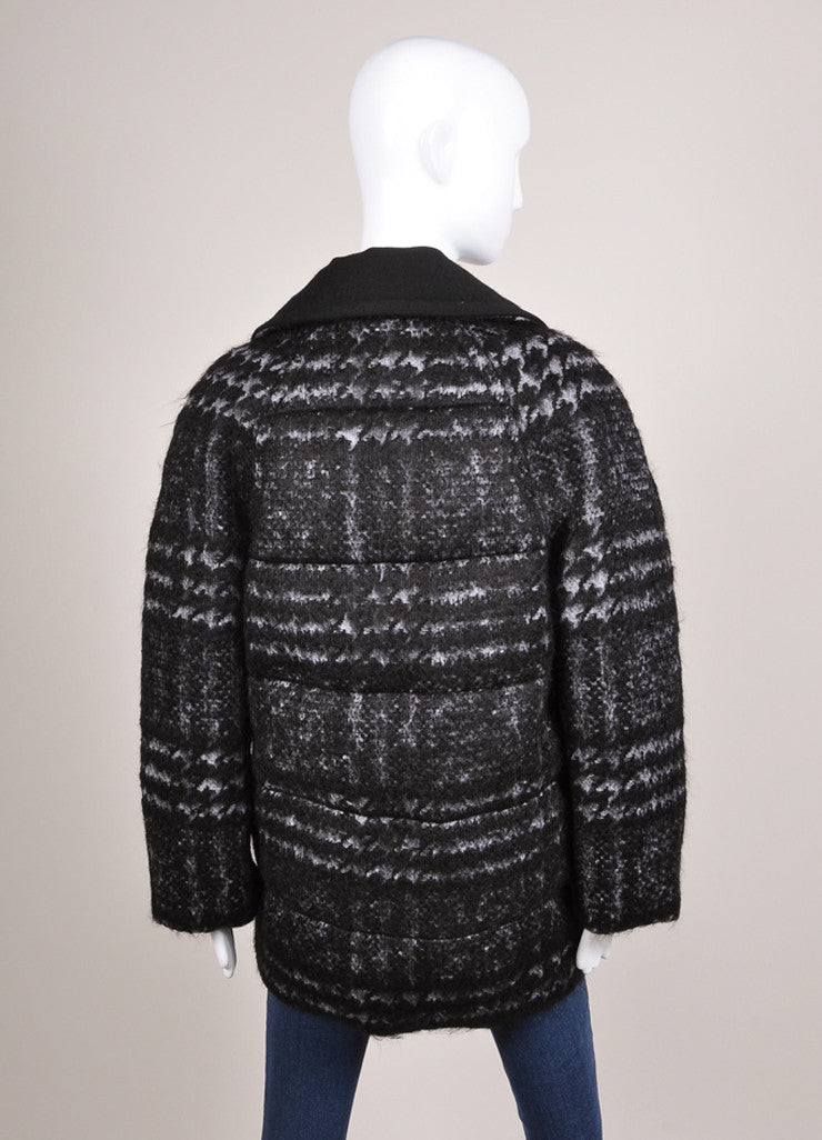 Moncler New With Tags Black and Grey Wool and Mohair Houndstooth Puffer Pea Coat Backview