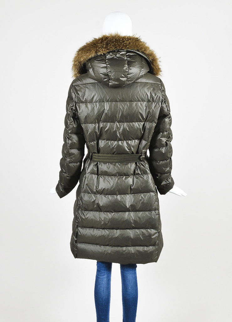Moncler Olive Green Coyote Fur Hooded Belted Long Puffer Coat Backview