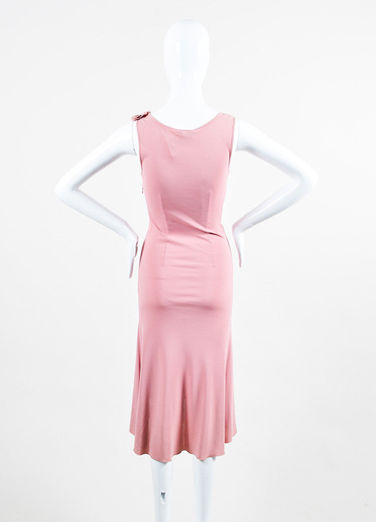 Moschino Cheap and Chic Pink Crepe Rosette Rhinestone Sleeveless Dress Backview