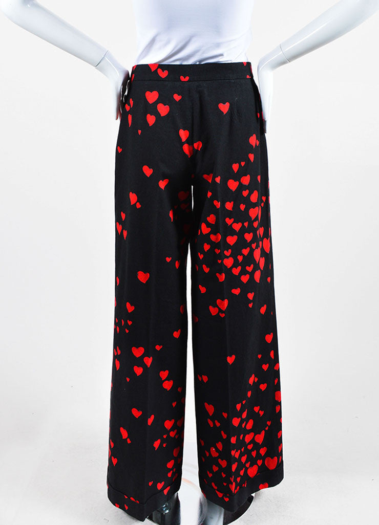 Black and Red Moschino Cheap and Chic Heart Print Cotton Wide Leg Pants Backview