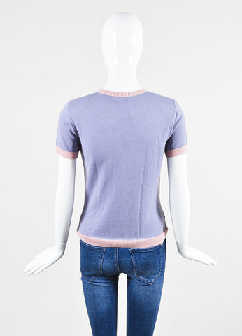 Lavender and Pink Moschino Wool and Cashmere Polka Dot Accessories Print Sweater Top Backview