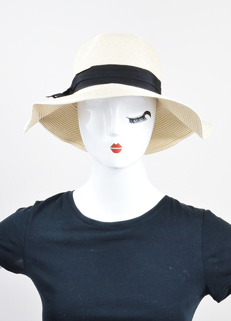 "Natural Beige and Black Mott 50 ""Elizabeth"" Ribbon Trim Straw Hat"