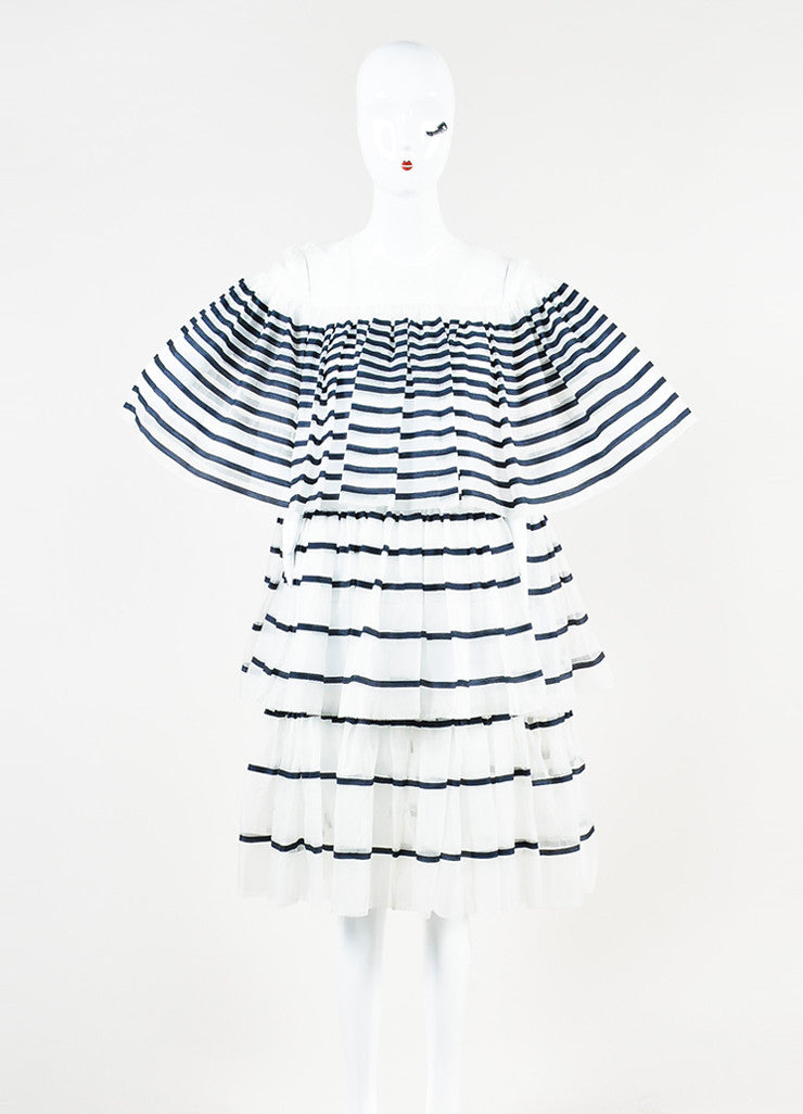 Ms Min White and Navy Silk Organza Striped Tiered Ruffle Short Sleeve Dress Frontview