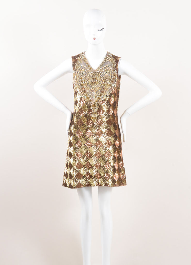 Naeem Khan Gold and Bronze Sequin Embellished and Rhinestone Bib Sleeveless Dress Frontview