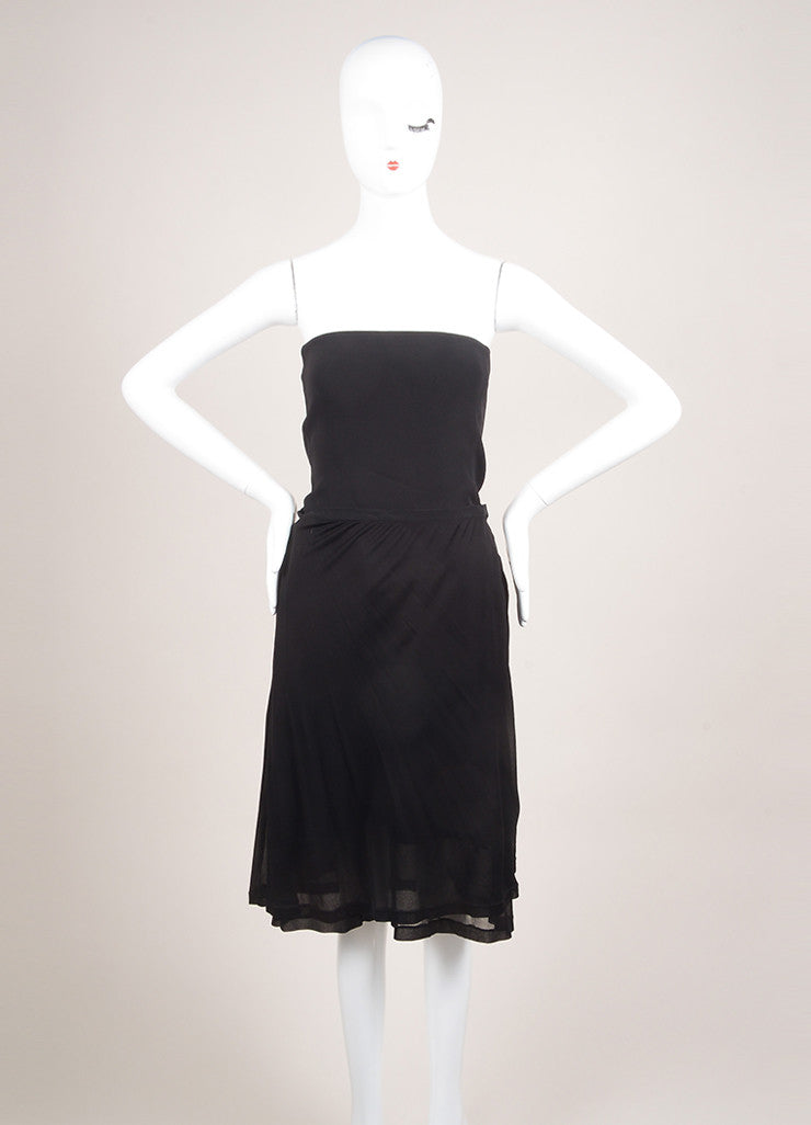 Narciso Rodriguez New With Tags Black Silk Strapless Draped Dress Frontview
