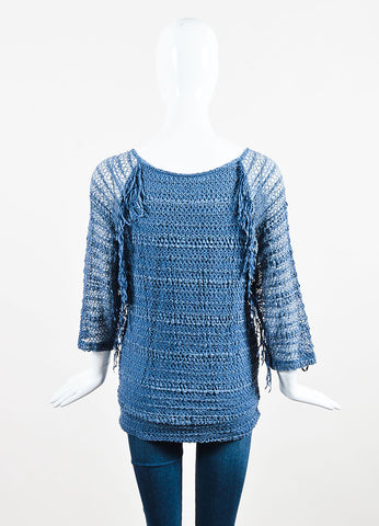 Nightcap Denim Blue Crochet Overlay Fringe Lace Long Sleeve Tunic backview