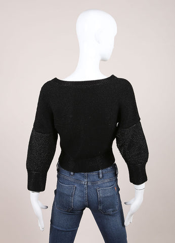 Ohne Titel New With Tags Black Metallic Knit Cropped Sweater Backview