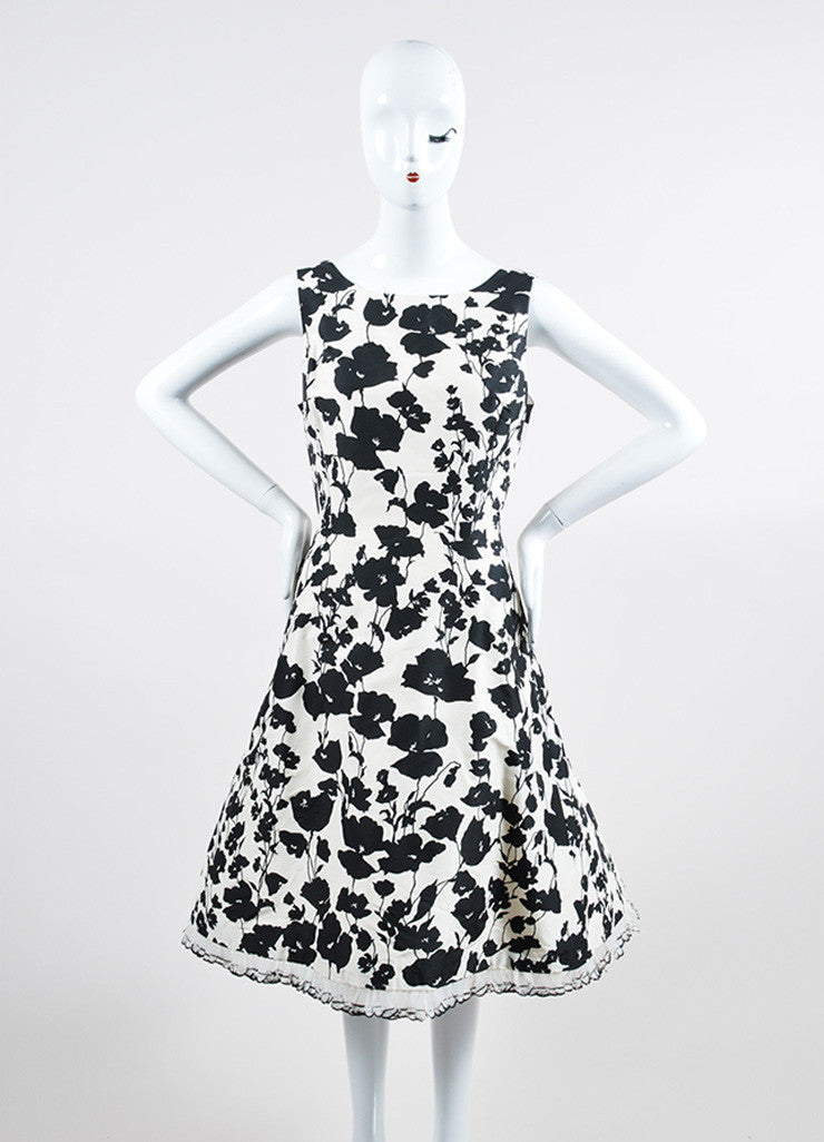 Black White Oscar de la Renta Floral Feather Trim Dress Front