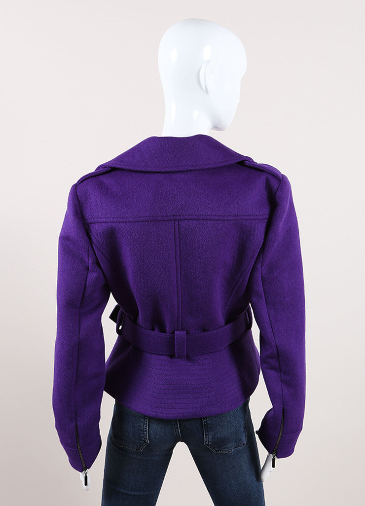 Oscar de la Renta New With Tags Purple Wool Blend Peplum Belted Moto Jacket Backveiw