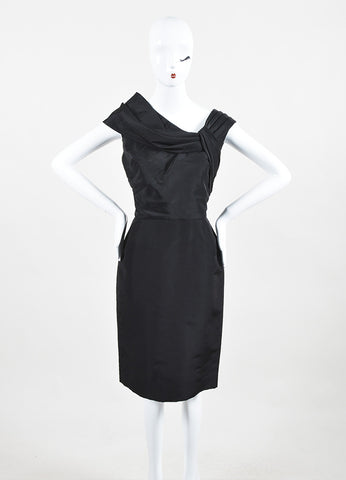 Oscar de la Renta Black Silk Folded Detail Sleeveless Sheath Dress Frontview