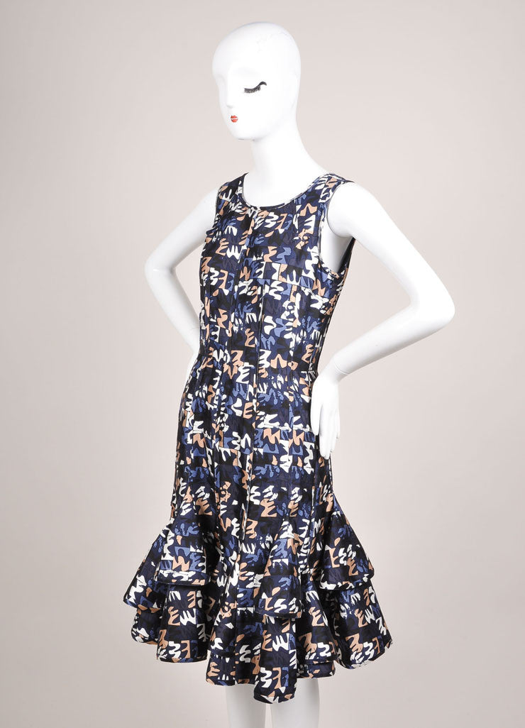 Oscar de la Renta Navy and Tan Silk and Cotton Printed Sleeveless Flounce Dress Sideview