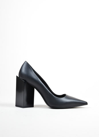 "Black Pierre Hardy Leather Pointed Toe ""Monolite"" Pumps Sideview"