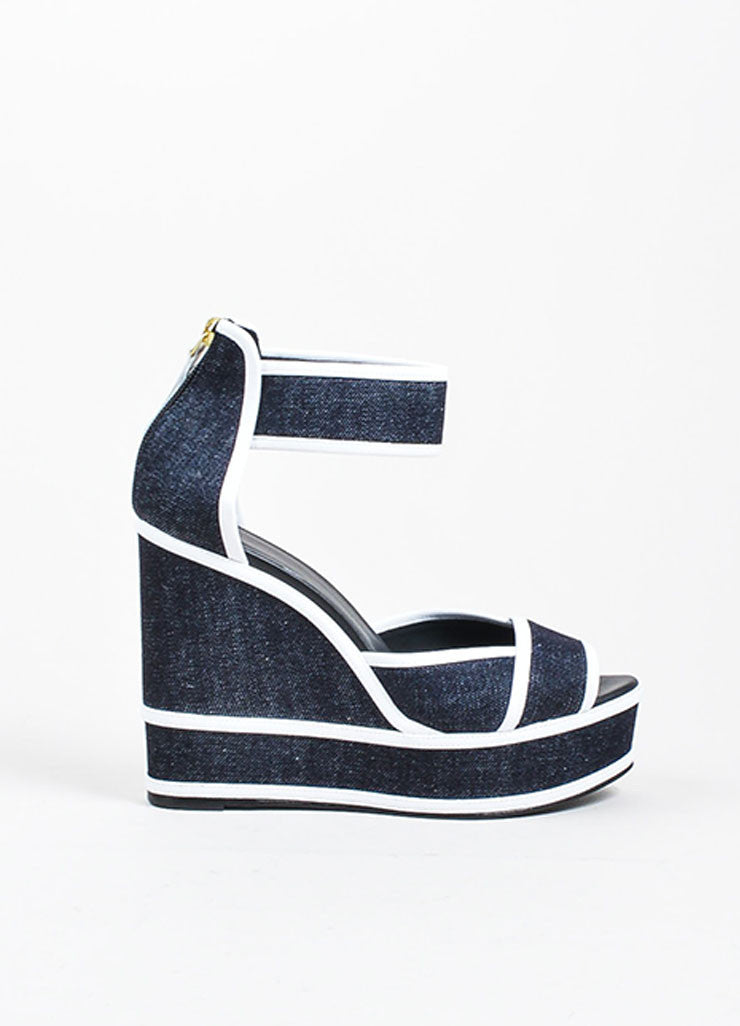 Dark Denim and White Leather Pierre Hardy Platform Wedge Sandals Sideview