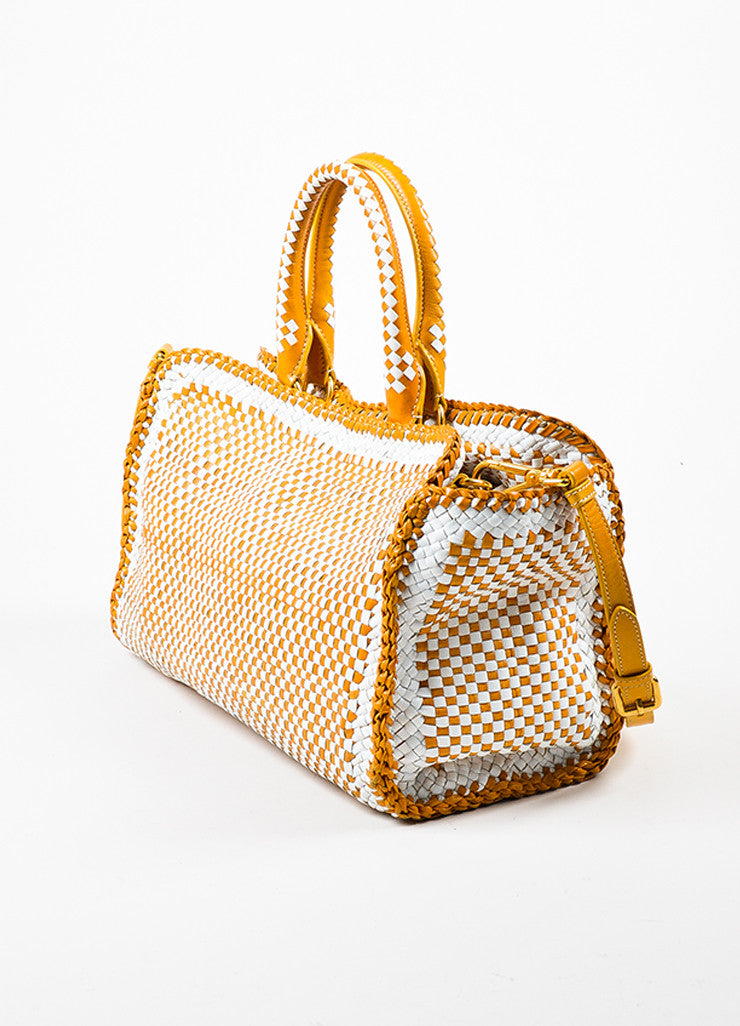 "Prada Yellow and White Leather Woven Crossbody ""Made In"" Madras Tote Bag Sideview"