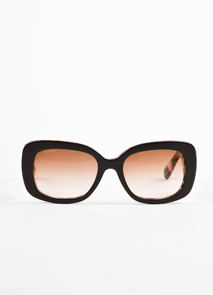 "Prada Brown and Purple Tortoiseshell Design ""Minimal Baroque"" Square Sunglasses Frontview"