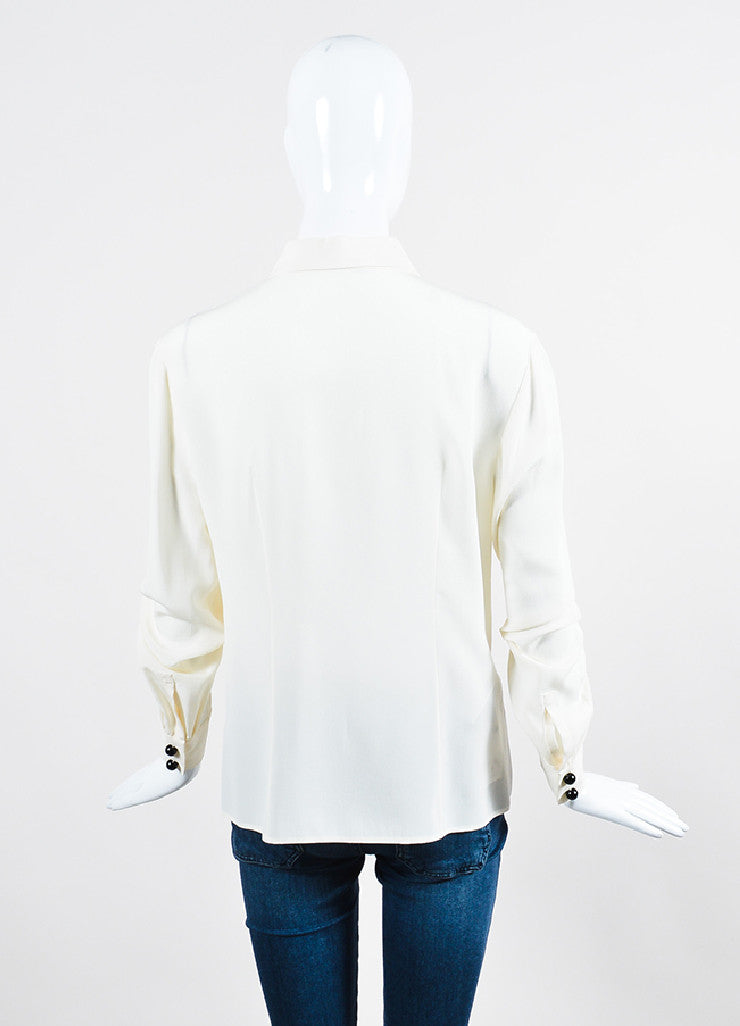 Cream Prada Silk Long Sleeve Button Down Blouse Backview