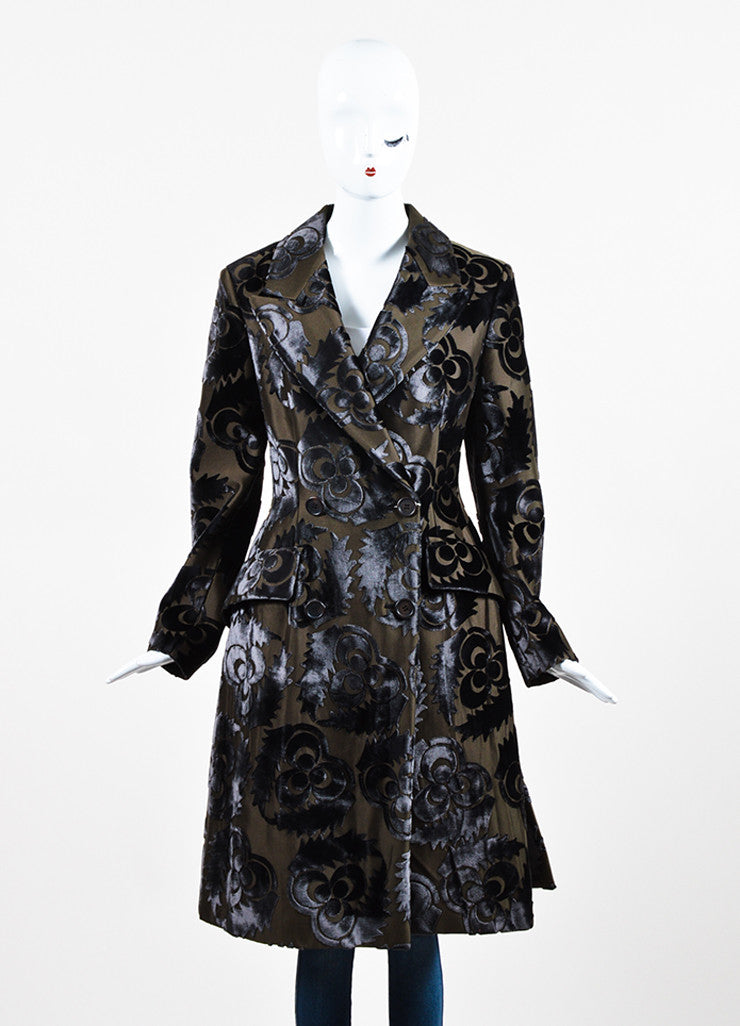 Prada Dark Olive Green and Grey Silk Velvet Floral Trench Coat Frontview 2