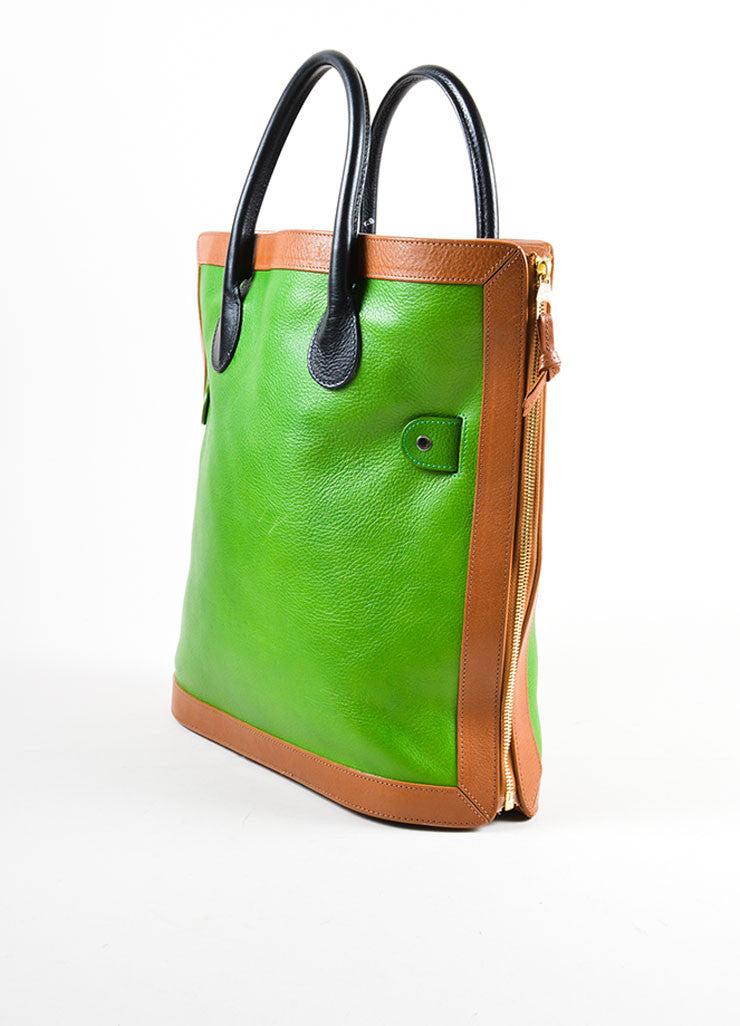 "Proenza Schouler Kelly Green, Brown, and Black Leather ""PS11"" Tote Bag Sideview"