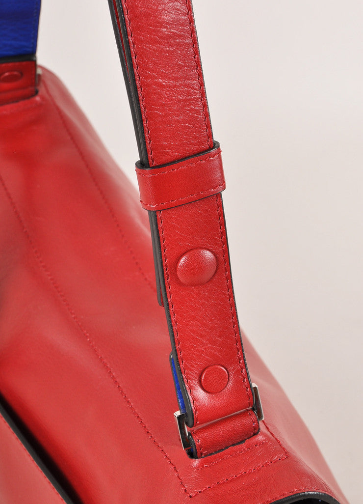 "Proenza Schouler New With Tags Red Leather Flap with Clasp ""Courier"" Shoulder Bag Detail 2"