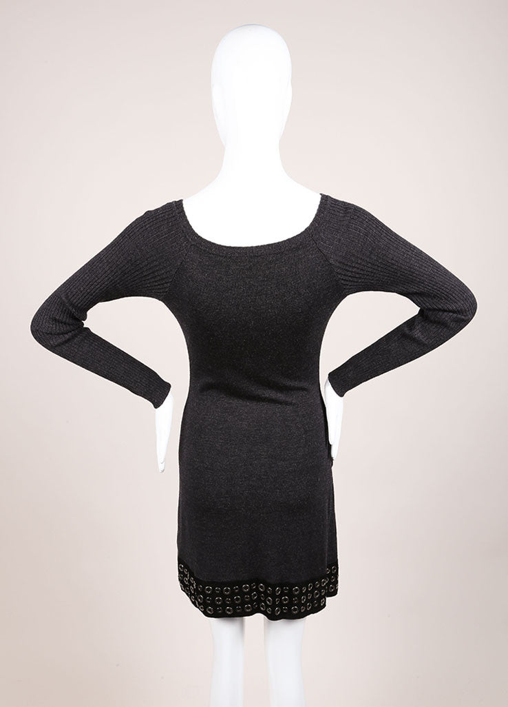 Roberto Cavalli Grey Wool Suede Leather Trim Grommet Sweater Dress Backview