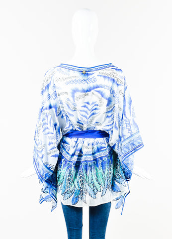 Roberto Cavalli Blue and White Silk Knit Printed Belted Caftan Top Backview