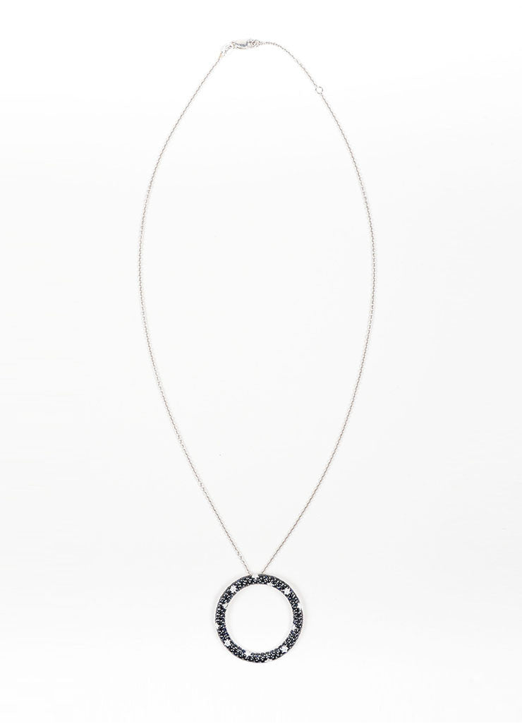 18K White Gold, Black Sapphire, and Diamond Roberto Coin Circle Ring Pendant Necklace Frontview