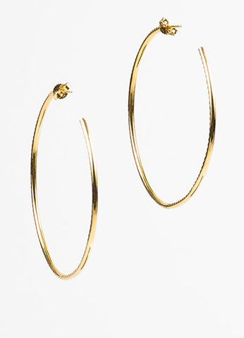 "Roberto Coin 18K Yellow Gold Diamond Ruby Accent ""Inside Out"" Hoop Earrings Backview"