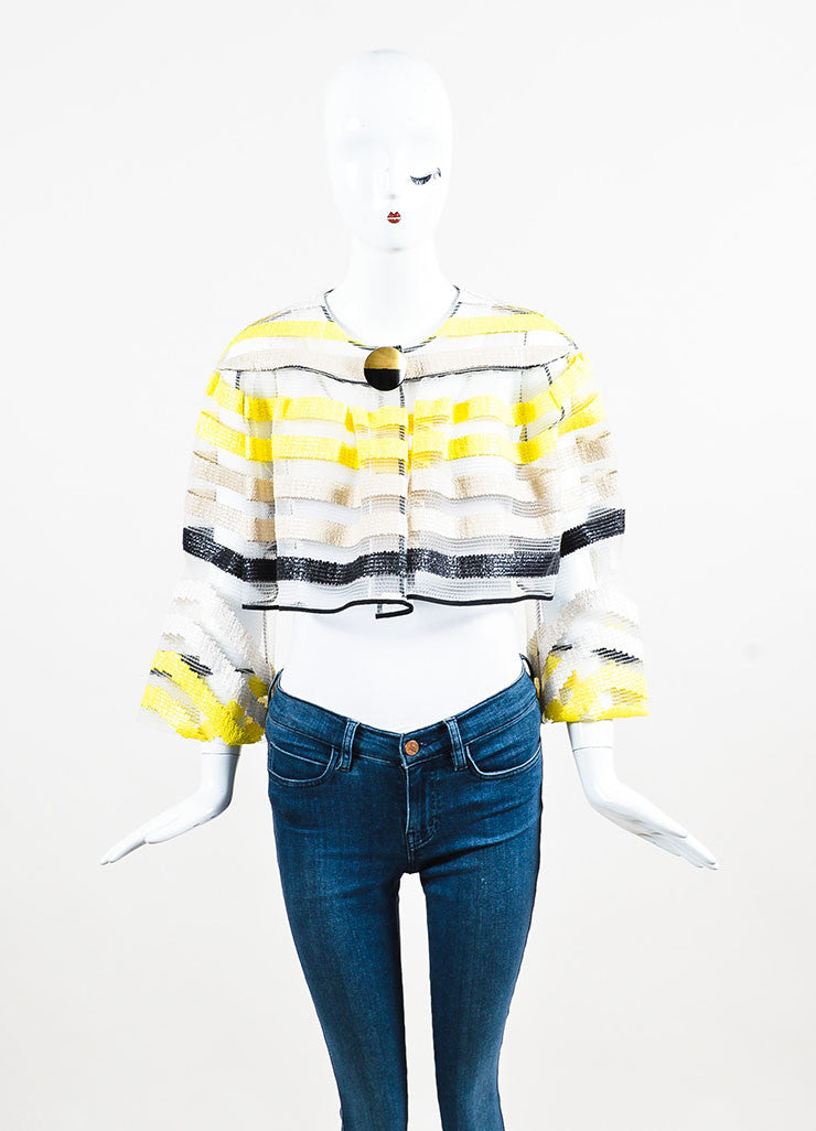 "Roksanda Beige, Yellow, and Black Woven ""Gwendolen"" Cropped Jacket Frontview 2"