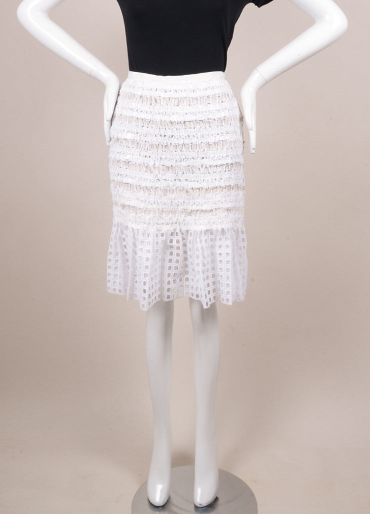 Sacai New With Tags White Cotton Ribbon Woven Pleated Hem Skirt Frontview