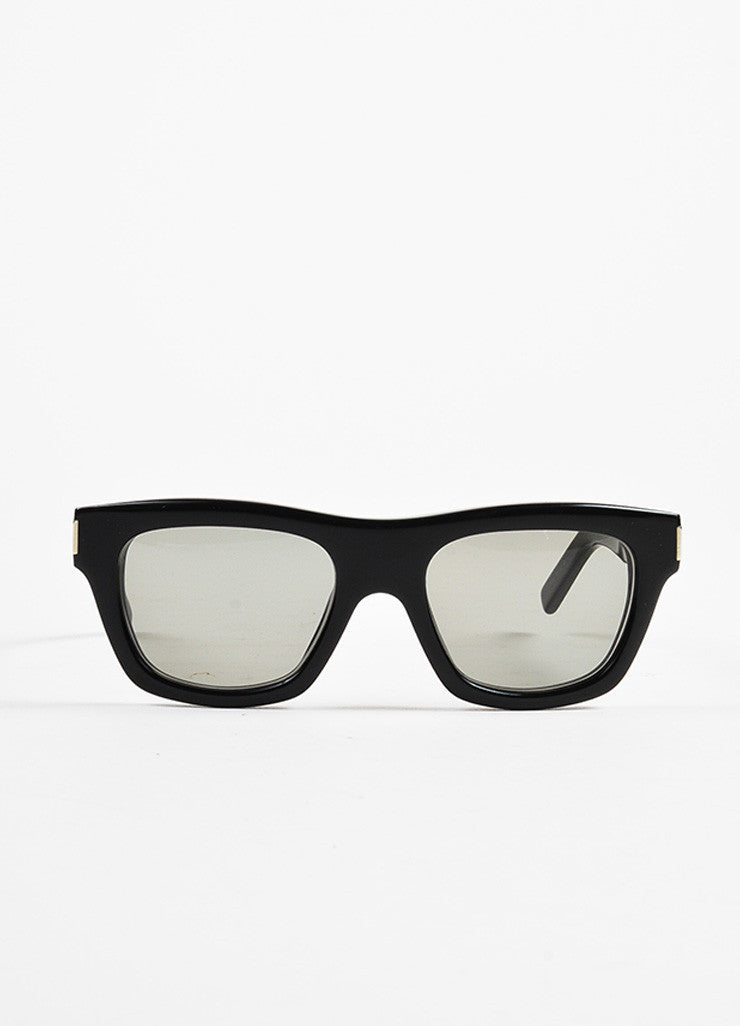 "Saint Laurent Black Thick Framed Rectangular ""Bold 4"" Sunglasses Frontview"