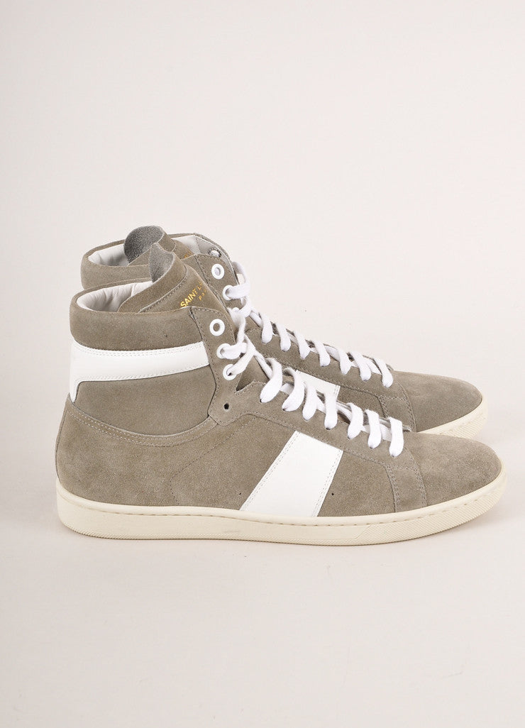 Saint Laurent Grey and White Leather Trim Suede High Top Lace Up Sneakers Sideview