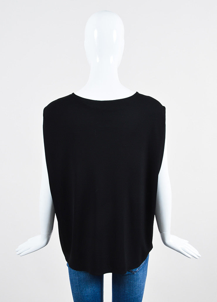 Black Saint Laurent Jersey Chain Detail Sleeveless Boxy Top Backview