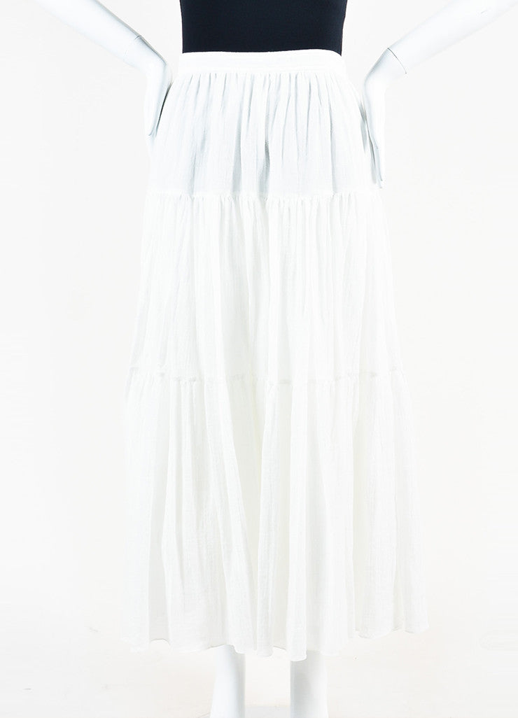 White Saint Laurent Cotton Tiered Midi Length Full Flare Skirt Front 2