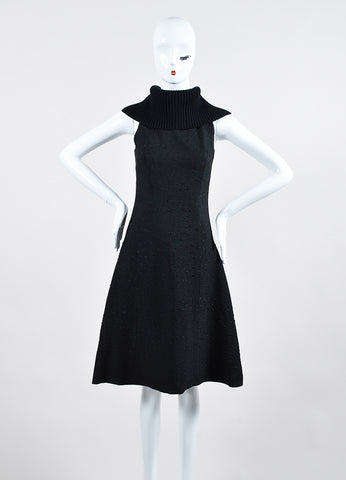 Black Sally Lapointe Textured Silk and Wool Turtleneck Sleeveless Swing Dress Frontview