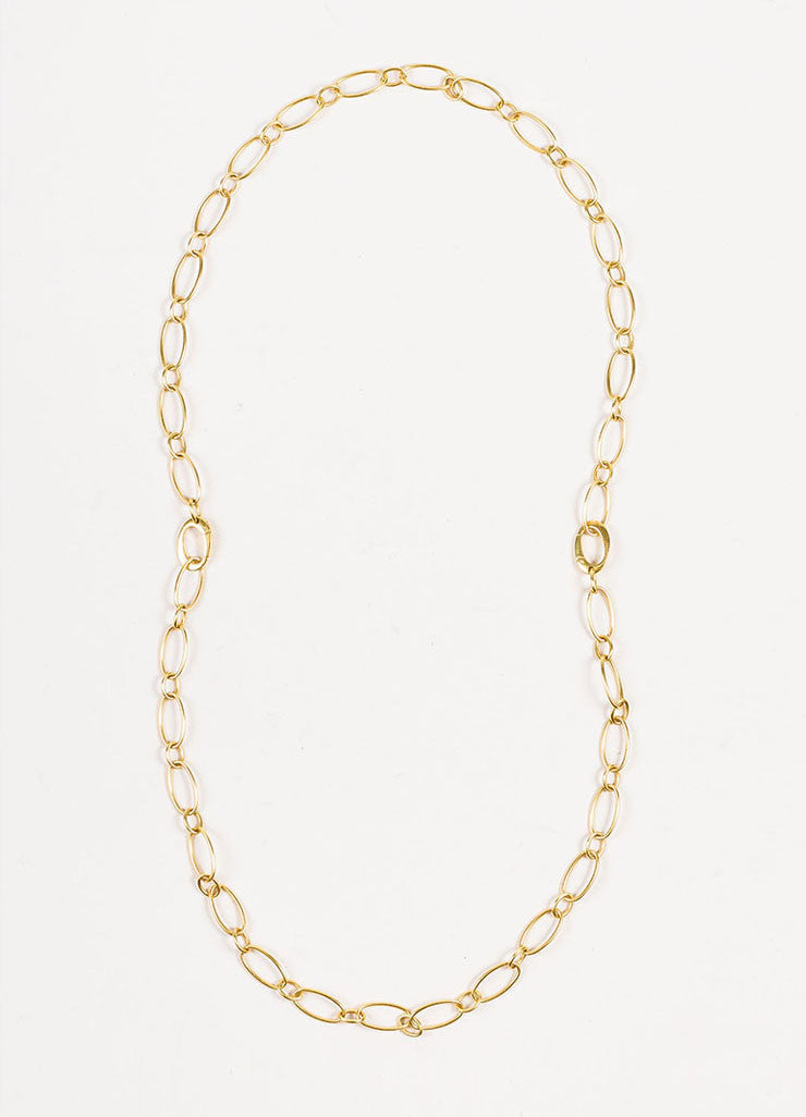 Sidney Garber 18K Yellow Gold Oval Link Convertible Chain Necklace Frontview