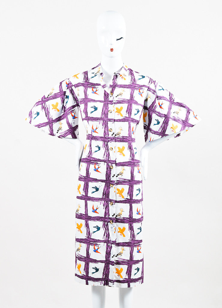"Stella Jean White and Purple Bird ""Sommelier Chemisier"" Shirt Dress Frontview"