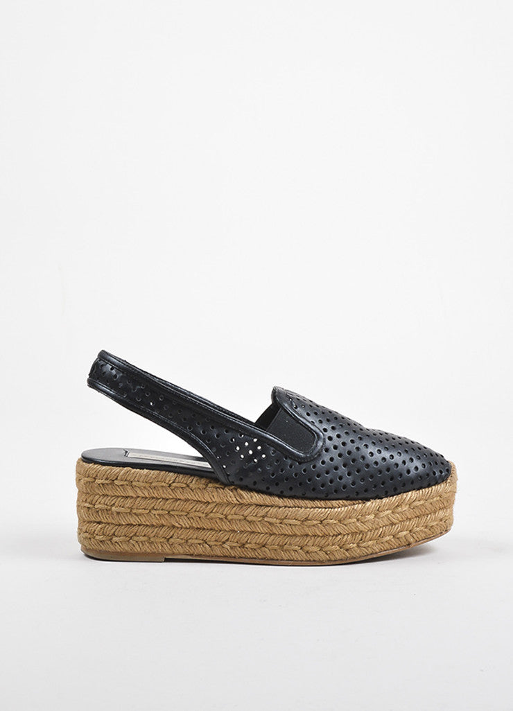 Black Stella McCartney Perforated Faux Leather Espadrille Platforms Side