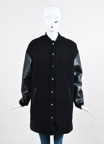 Black ‰ۢÌöÌÛT by Alexander Wang Wool and Leather Long Varsity Bomber Jacket Frontview 2